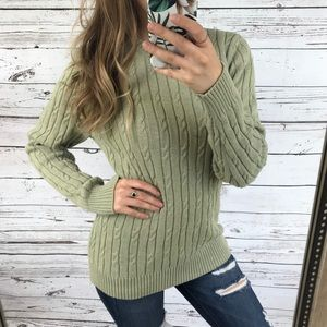 Croft&Barrow Green Cable Knit Long Sleeve Sweater